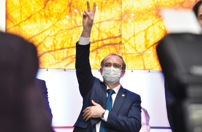 KOSOVAR PRIME MINISTER Avdullah Hoti gestures during a campaign rally in Peja, Kosovo, earlier this month. (photo credit: LAURA HASANI/REUTERS)