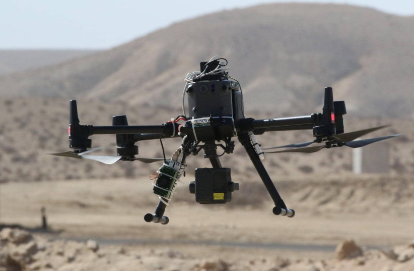 A drone is seen with the NavSight BVLOS navigation solution. (photo credit: DROR BEN DAVID/MATRIX)