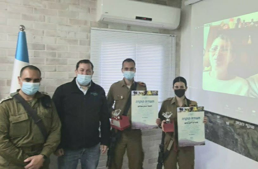 IDF Lone soldier Cpl. Lian Harush receives certificate of appreciation for thwarting terrorist attack (photo credit: Courtesy)