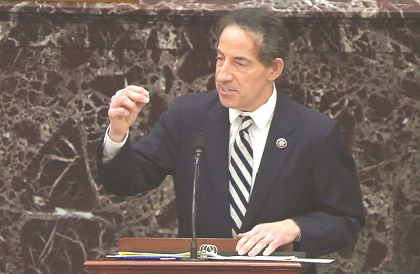 US HOUSE LEAD impeachment manager Rep. Jamie Raskin (D-MD) speaks during the impeachment trial of former US president Donald Trump last week. (photo credit: US SENATE TV/HANDOUT VIA REUTERS)