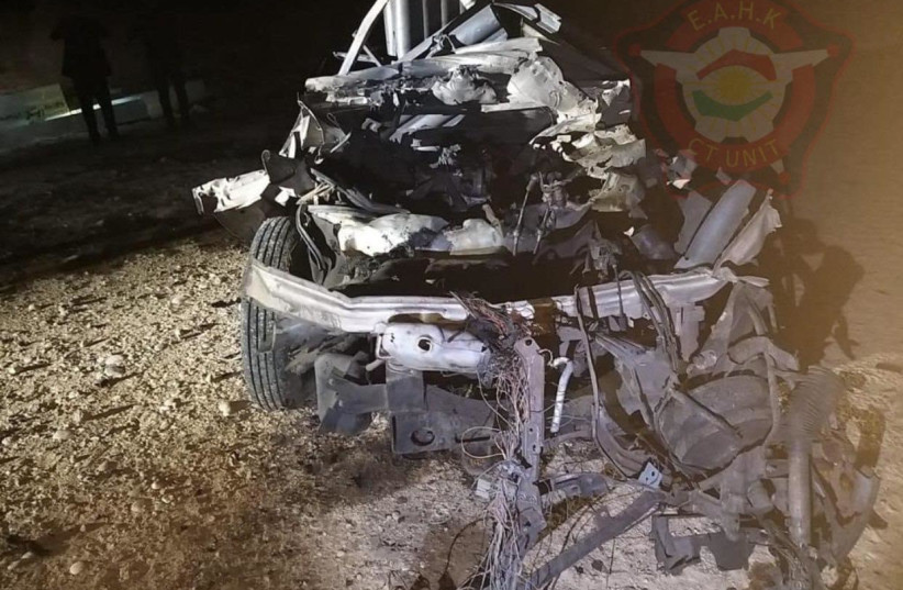 The car used to attack US forces near Erbil, Iraq, Tuesday, February 16, 2020. (photo credit: COURTESY REGIONAL GOVERNMENT)