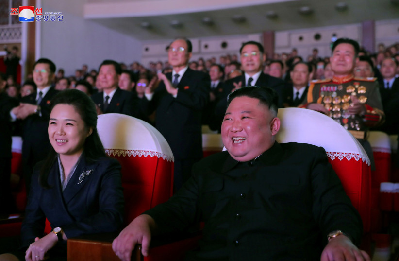 North Korean leader Kim Jong Un and his wife Ri Sol Ju watch a performance that commemorated the Day of the Shining Star, the birth anniversary of the late leader Kim Jong Il at the Mansudae Art Theatre in Pyongyang, North Korea in this undated photo released by North Korea's Korean Central News Age (photo credit: KCNA/VIA REUTERS)