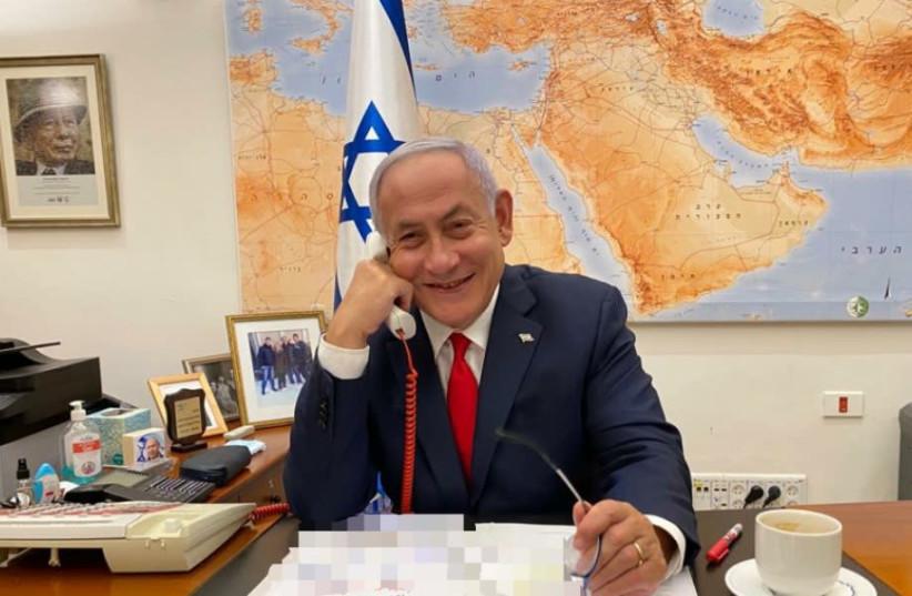 Prime Minister Benjamin Netanyahu speaks with President Joe Biden on February 17 (photo credit: Courtesy)