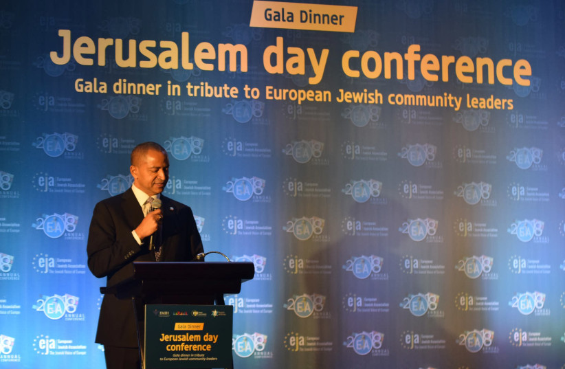 Moises Katumbi speaks at the European Jewish Association's Jerusalem Day gala in Brussels, Belgium on June 4, 2016.  (photo credit: EUROPEAN JEWISH ASSOCIATION)
