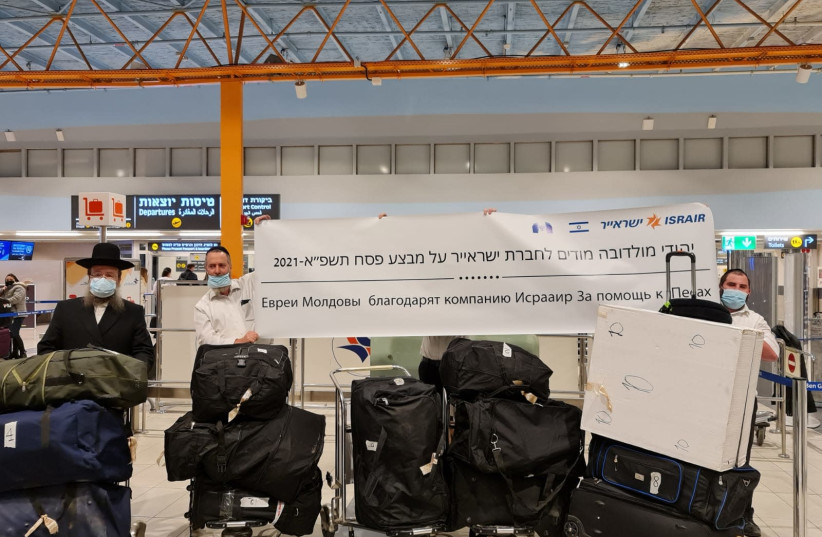 The kosher nutritional goods at Ben-Gurion Airport, on their way to Moldova to serve the Jewish community for the Passover holiday.  (photo credit: Courtesy)