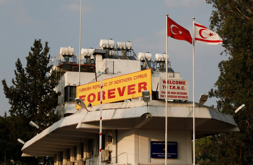 Ledra Palace checkpoint is pictured in the Turkish Cypriot northern part of the divided city of Nicosia, Cyprus, August 5, 2019 (photo credit: REUTERS/MURAD SEZER)