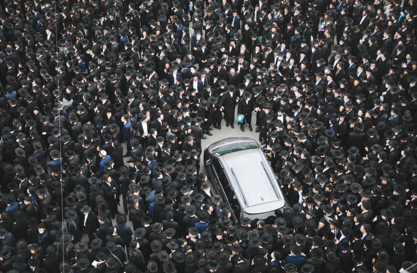 A sea of haredim attend the funeral of Brisk yeshiva head Rabbi Meshulam Dovid Soloveitchik, on January 31 in Jerusalem. (photo credit: YONATAN SINDEL/FLASH90)