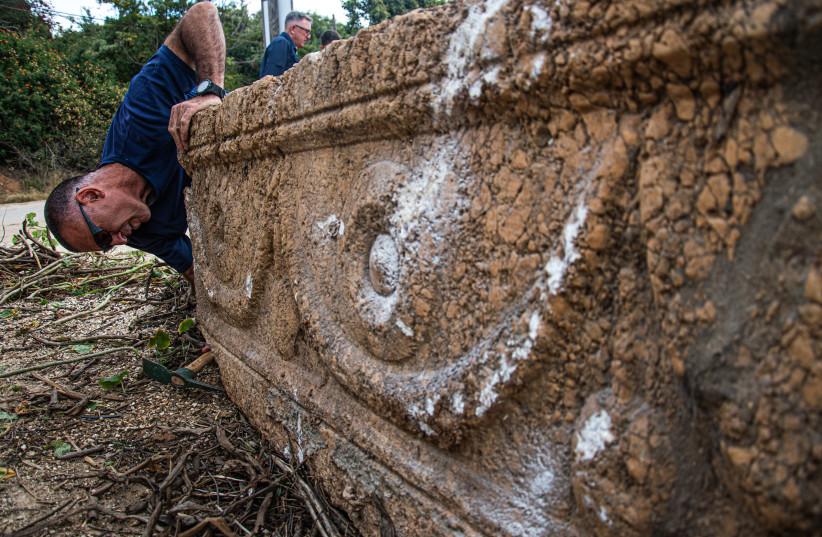 Ancient sarcophagi found at the Ramat Gan Safari Park. (photo credit: YOLI SCHWARTZ/IAA)