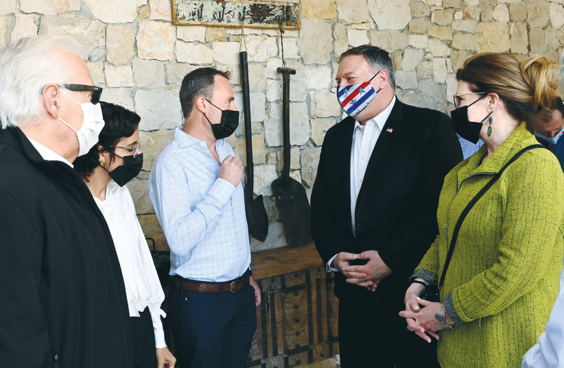 FORMER US secretary of state Mike Pompeo and his wife, Susan, visit Psagot Winery, near Kochav Ya'acov, in November. (photo credit: MATTY STERN/FLASH 90)