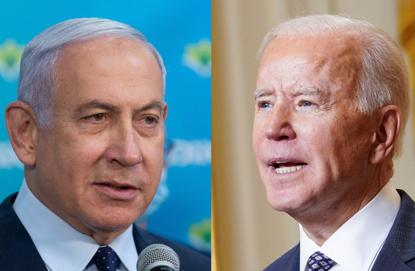 Prime Minister Benjamin Netanyahu and US President Joe Biden (photo credit: REUTERS/KEVIN LAMARQUE AND ALEX KOLOMOISKY/POOL)