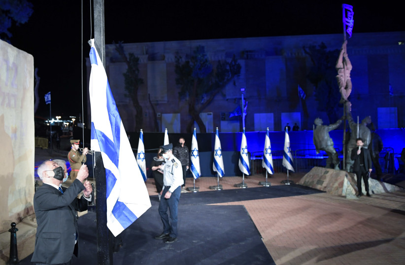 Prime Minister Benjamin Netanyahu at the annual commemoration marking 72 years to the liberation of the city of Eilat and the raising of the ink-flag, February 21, 2021.  (photo credit: KOBI GIDEON/GPO)