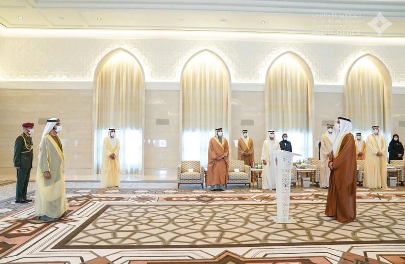 Mohammed Mahmoud Al-Khaja sworn as UAE's first ambassador to Israel by Dubai ruler Sheikh Mohammed bin Rashid (photo credit: DUBAI GOVERNMENT MEDIA OFFICE)