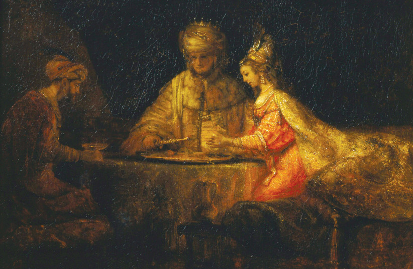 'Ahasuerus and Haman at the Feast of Esther' by Rembrandt, 1660, at Moscow's Pushkin Museum (photo credit: Wikimedia Commons)