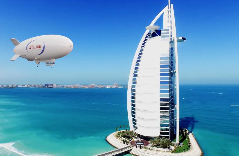 An Atlas-11 airship is seen flying near Dubai. (photo credit: Courtesy)