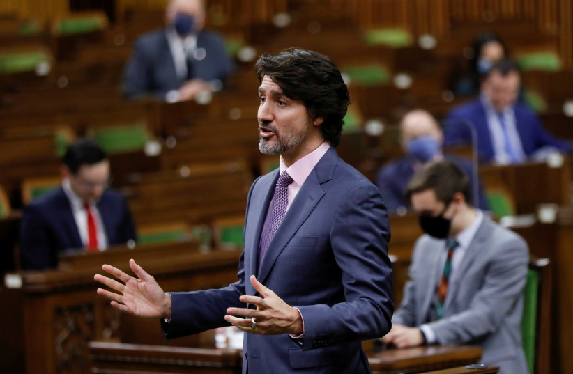 Canada's Prime Minister Justin Trudeau speaks during Question Period, as efforts continue to help slow the spread of the coronavirus disease (COVID-19), in the House of Commons on Parliament Hill in Ottawa, Ontario, Canada February 24, 2021.  (photo credit: REUTERS/BLAIR GABLE)