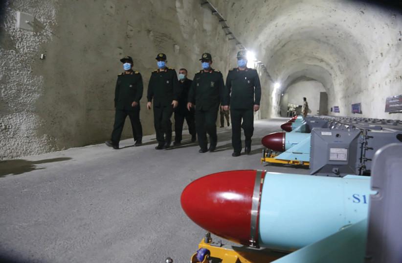 Maj.-Gen. Hossein Salami visits underground missile site of Iran's Revolutionary Guards (photo credit: IRGC/WANA/HANDOUT VIA REUTERS)