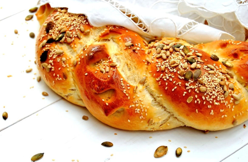 Sweet challah with seeds (photo credit: PASCALE PEREZ-RUBIN)