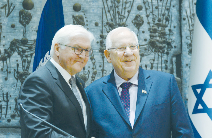GERMAN PRESIDENT Frank Walter Steinmeier is greeted by President Reuven Rivlin during a visit to Jerusalem in 2017. (photo credit: MARK NEYMAN/GPO)