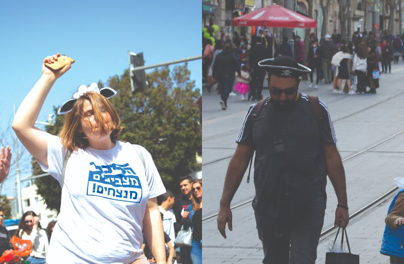 A TALE OF two Purims – last year in Tel Aviv, and (right) this week in Jerusalem. (photo credit: MIRIAM ALSTER/FLASH90/MARC ISRAEL SELLEM/THE JERUSALEM POST)