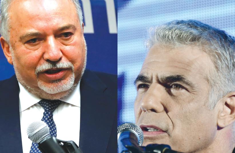 Avigdor Liberman and Yair Lapid. (photo credit: REUTERS/TOMER NEUBERG/FLASH90)