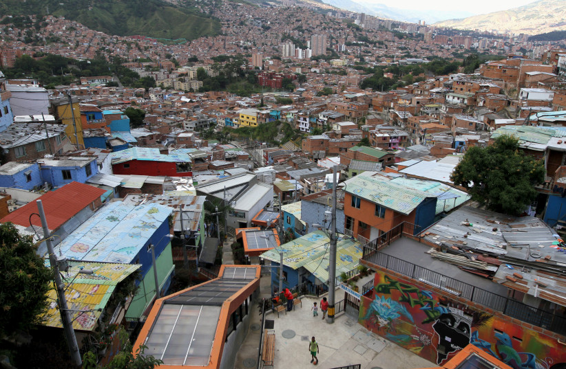 "A view from the ""Comuna 13"" neighborhood in Medellin, September 2, 2015 (photo credit: REUTERS/FREDY BUILES/FILE PHOTO)"