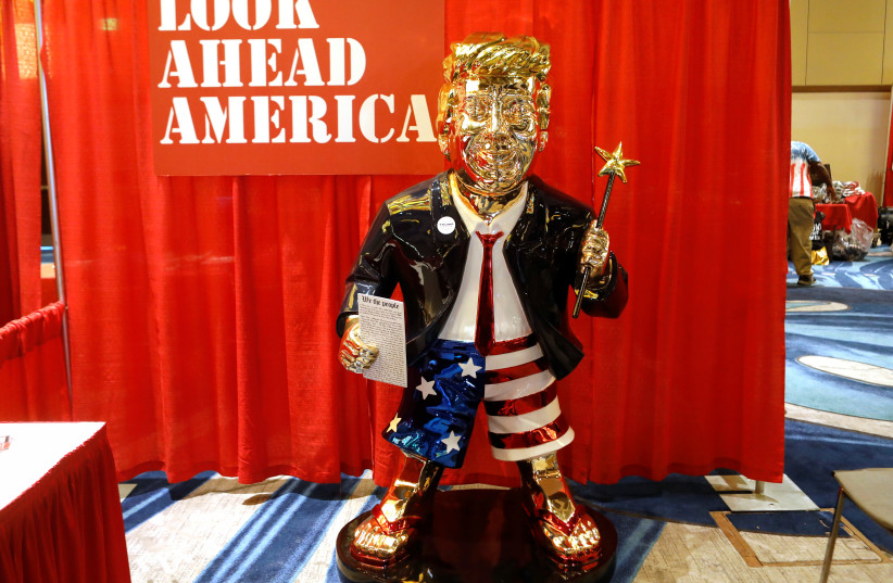 A statue of former US President Donald Trump is pictured at the Conservative Political Action Conference (CPAC) in Orlando, Florida, US February 26, 2021.  (photo credit: REUTERS/OCTAVIO JONES)