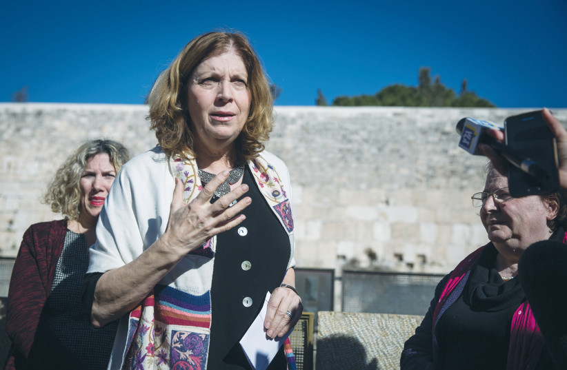 WOMEN OF THE WALL chairwoman Anat Hoffman addresses a press conference at the Western Wall in 2016. (photo credit: HADAS PARUSH/FLASH90)