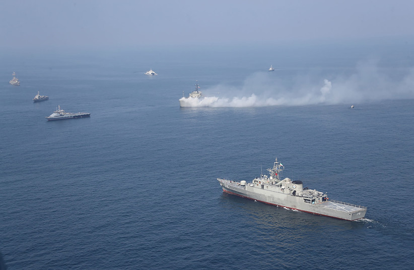 Iranian warships are seen during a joint naval exercise with Russian navy in the Indian Ocean (photo credit: IRANIAN ARMY/WANA)