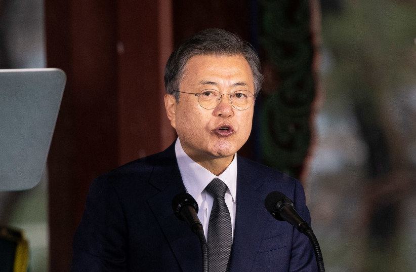 South Korean President Moon Jae-in, speaks during a ceremony of the 102nd anniversary of the March 1st Independence Movement Day in Seoul, South Korea, March 1, 2021. (photo credit: POOL VIA REUTERS)