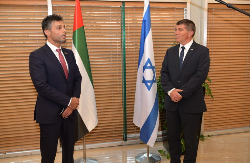 UAE Ambassador to Israel Muhammad Mahmoud Al Khaja with Foreign Minister Gabi Ashkenazi (photo credit: FOREIGN MINISTRY)