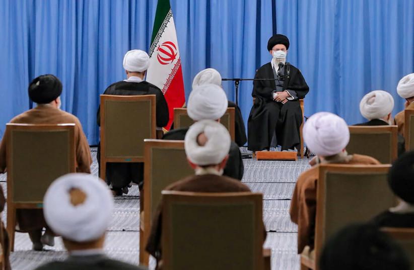 Iran's Supreme Leader Ayatollah Ali Khamenei meets members of the Assembly of Experts in Tehran, Iran February 22, 2021. (photo credit: OFFICIAL KHAMENEI WEBSITE/HANDOUT VIA REUTERS)