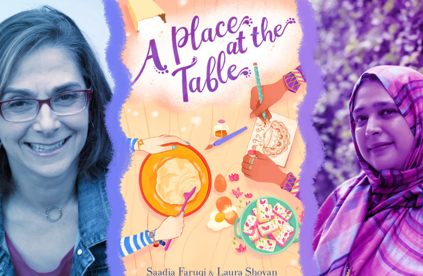 """Laura Shovan, left, the cover of """"A Place at the Table,"""" and Saadia Faruqi (photo credit: QZB PHOTOGRAPHY/CLARION BOOKS/LAURA JOY BURKE)"""