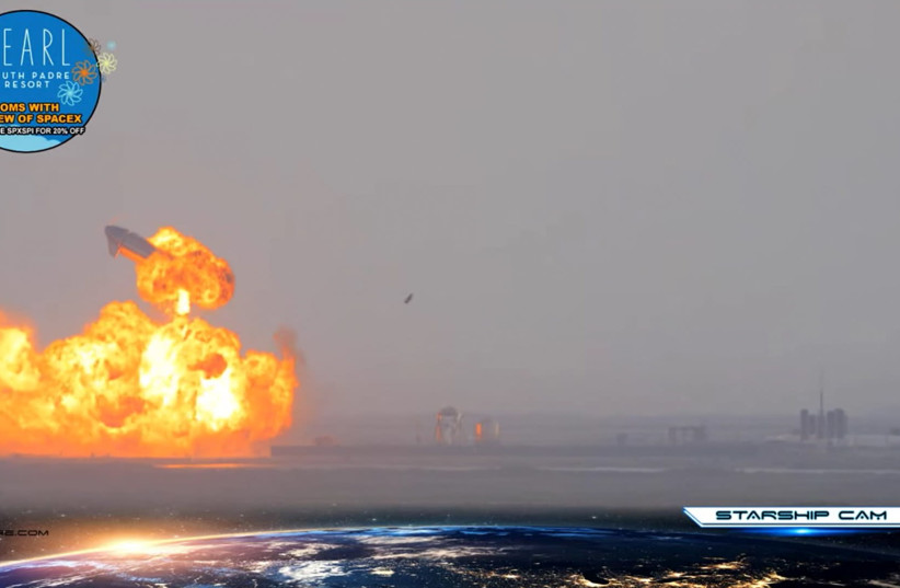 SpaceX Starship SN10 explodes after liftoff at South Padre Island, Texas (photo credit: SPADRE/PEARL SOUTH PADRE RESORT VIA YOUTUBE/VIA REUTERS)