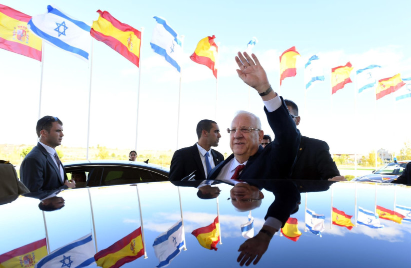 President Reuven Rivlin arrives in Spain to visit the King of Spain, on November 5, 2017. (photo credit: HAIM ZACH/GPO)