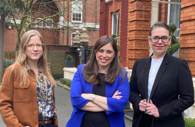 (FROM LEFT) Minister Counsellor for Political Affairs Dana Erlich, Ambassador Tzipi Hotovely and Deputy Ambassador Sharon Bar-Li at the Israeli Embassy in London (located, incidentally, right across the road from where Prince William and his family live). (photo credit: FOREIGN MINISTRY)