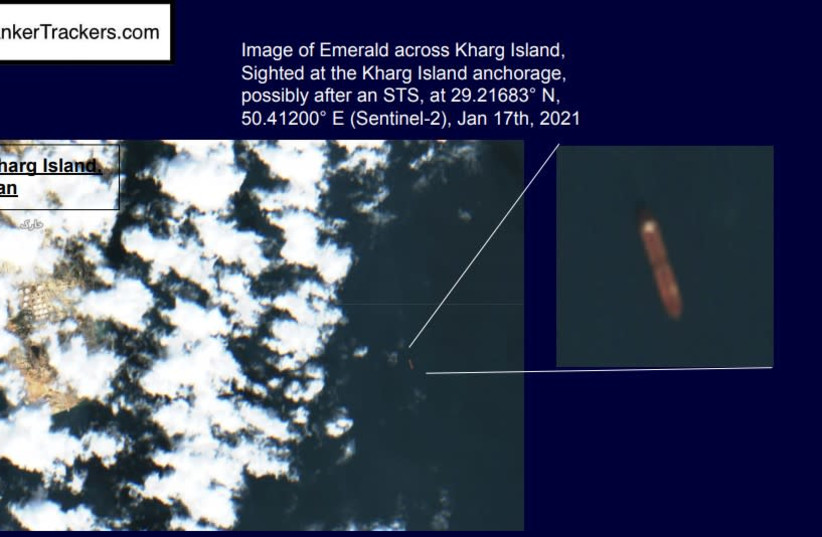 Image of the Emerald across Kharg Island, dated January 17, 2021 (photo credit: TANKERTRACKERS.COM)