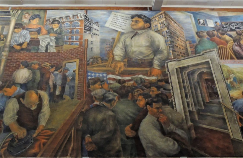 BEN SHAHN'S MURAL at Jersey Homestead, New Jersey (photo credit: Courtesy)
