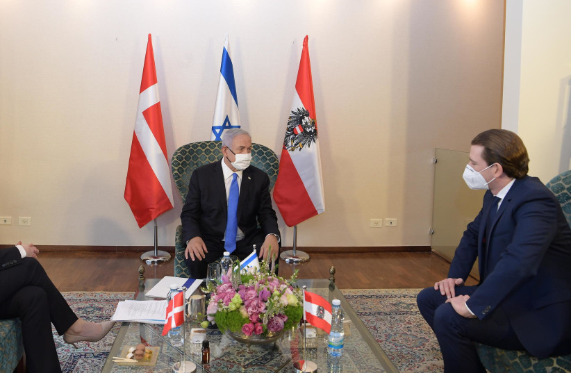 Prime Minister Benjamin Netanyahu meeting with Austrian Chancellor Sebastian Kurz and Danish Prime Minister Mette Frederiksen at the King David Hotel in Jerusalem.  (photo credit: AMOS BEN GERSHOM, GPO)