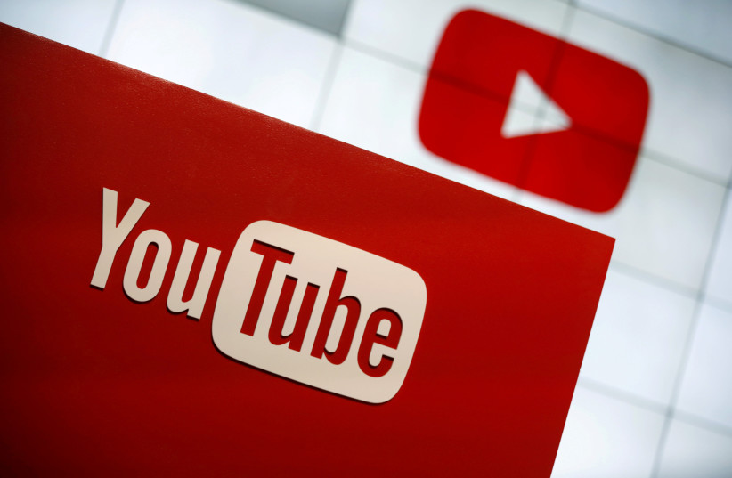 YouTube logo at the YouTube Space LA in Playa Del Rey, Los Angeles, California, United States October 21, 2015.  (photo credit: REUTERS/LUCY NICHOLSON/FILE PHOTO)