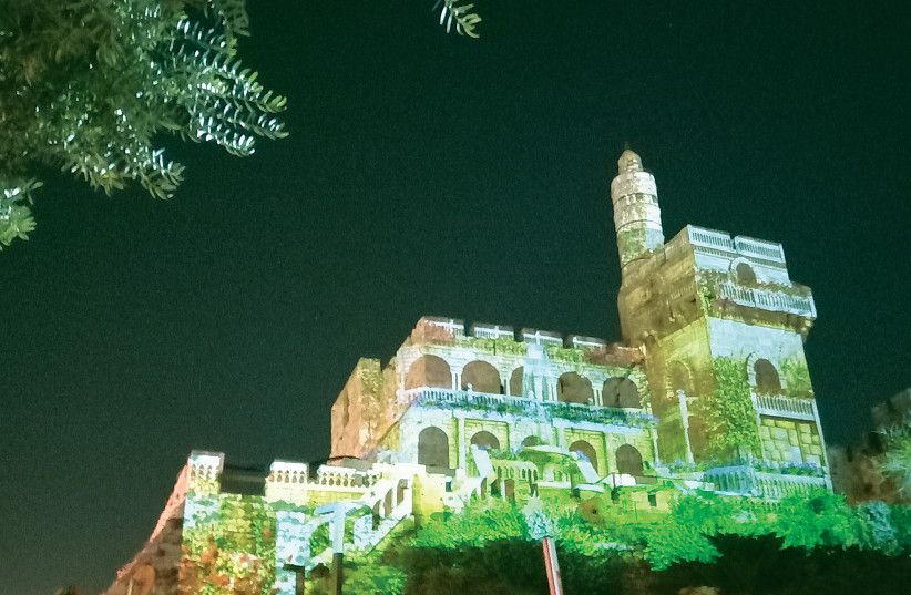 THE TOWER of David displays its festive colors for the Follow the Lights event. (photo credit: LIAT COLLINS)