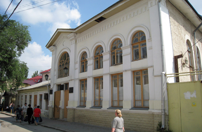 A view of the Chabad synagogue in Chisinau, the Moldavian capital. (photo credit: ISABELLE LIGNER/AFP VIA GETTY IMAGES)