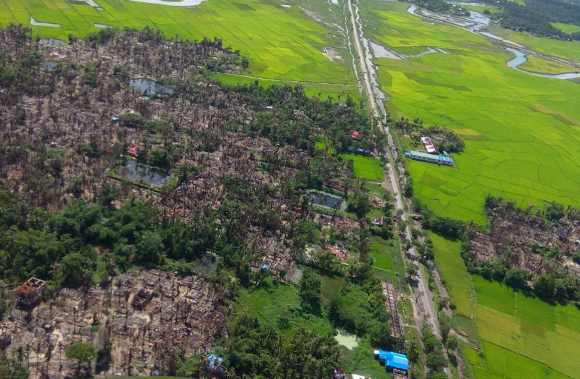A burnt village is seen from an aerial view in the Rakhain state in Myanmar, a month after the Myanmar Military committed what the UN refers to as a genocide against the Muslim minority Rohingya people, October, 2017. (photo credit: Courtesy)