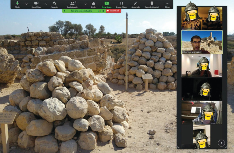 A CRUSADERS-THEMED virtual tour with Itamar Ben David. The faces were altered for privacy considerations. (photo credit: Courtesy)