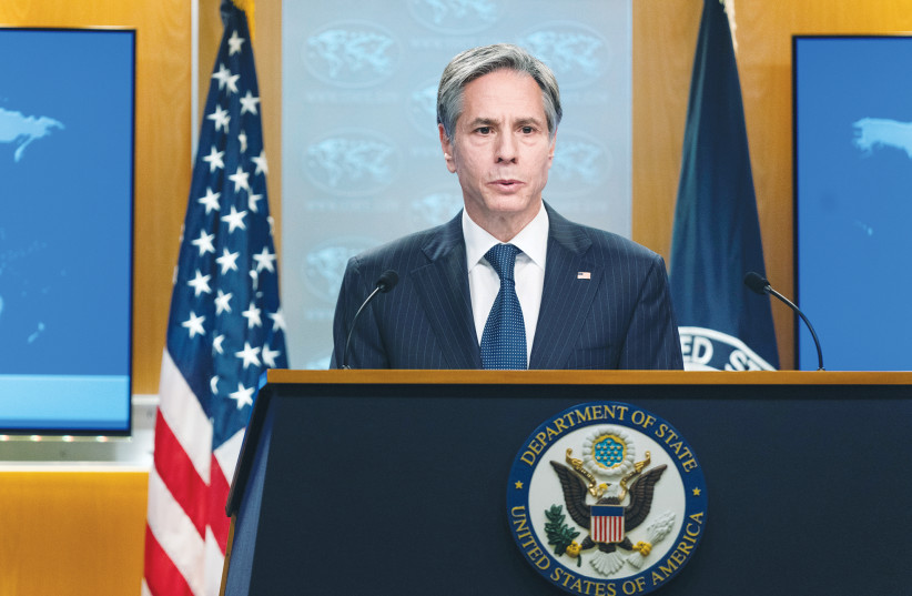US SECRETARY of State Antony Blinken speaks during a news conference at the State Department last month.  (photo credit: MANUEL BALCE CENETA/REUTERS)
