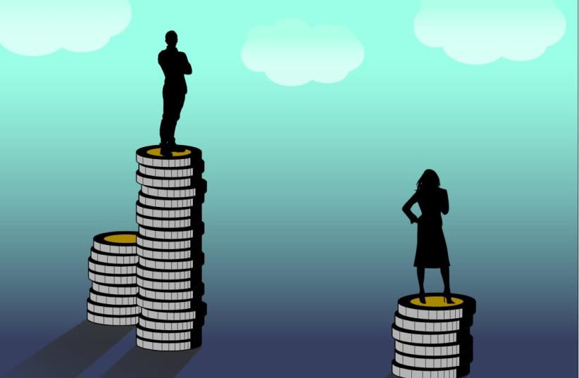 Gender pay gap representation, 15 April 2018.  (photo credit: Wikimedia Commons)
