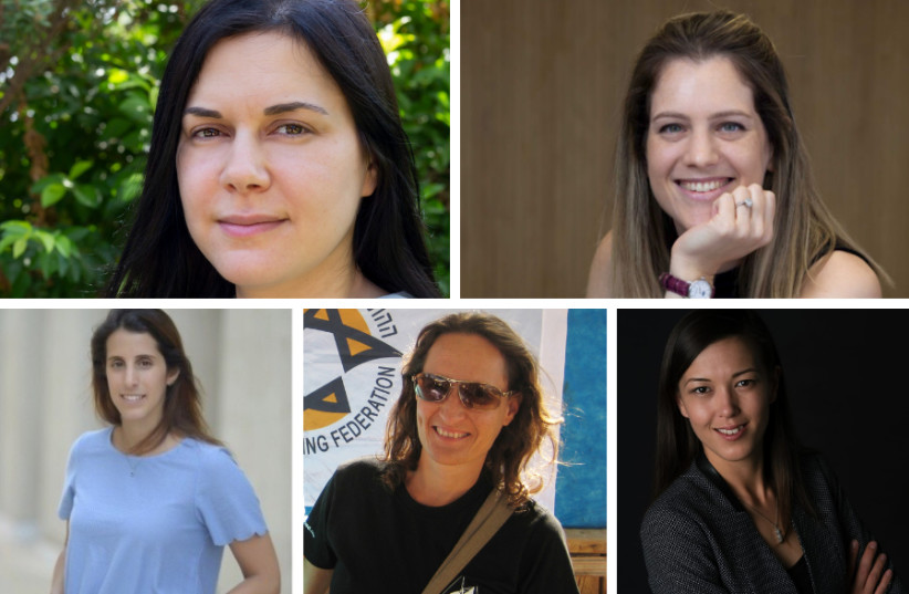 (Clockwise from top left) Ruth Polachek, Tom Goldberg Abramovici, Irena Derenshtein, Daphna Litvin and Liron Kreiss (photo credit: RAN BIRAN / TATIANA REEF / COURTESY)