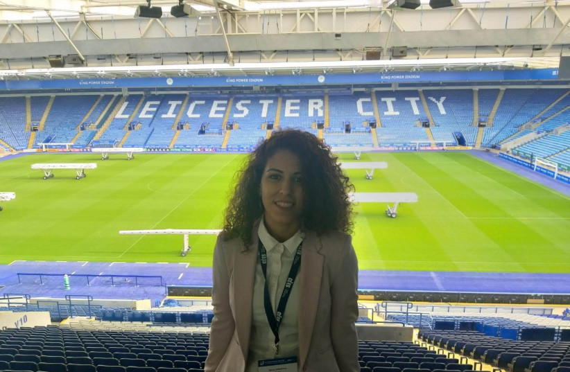 Sanaa Bader at the Leicester City FC King Power Stadium in Leicester, England. (photo credit: Courtesy)