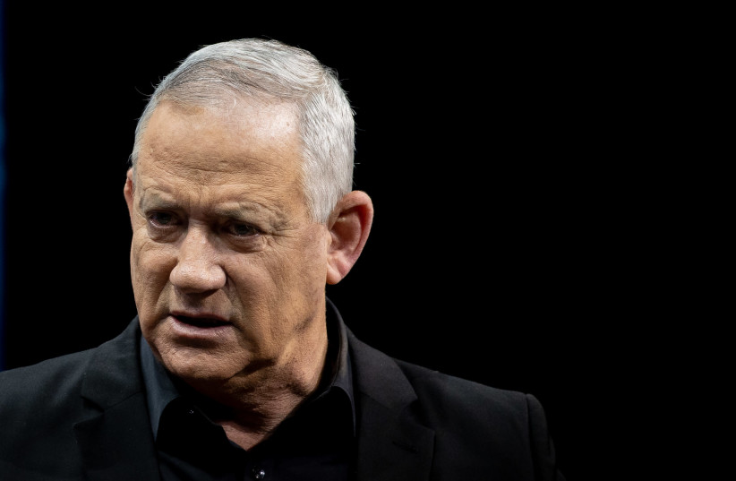 Alternate Prime Minister and Minister of Defense Benny Gantz attends a conference of the Israeli Television News Company in Jerusalem on March 7, 2021.  (photo credit: YONATAN SINDEL/FLASH 90)