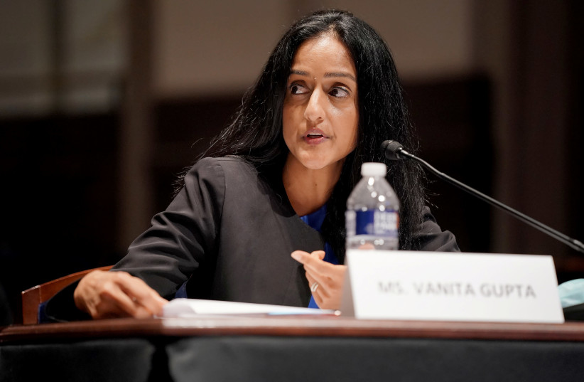 "Vanita Gupta, President and CEO at the Leadership Conference on Civil and Human Rights, testifies during the U.S. House Judiciary Committee hearing on ""Policing Practices and Law Enforcement Accountability"" on Capitol Hill in Washington, DC, U.S. June 10, 2020. (photo credit: GREG NASH/POOL VIA REUTERS)"
