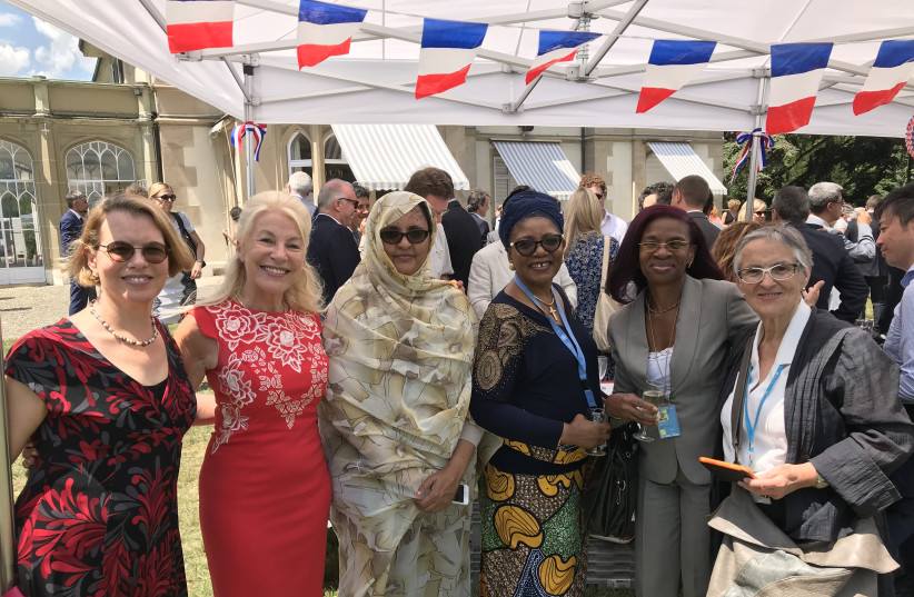 Prof. Ruth Halperin-Kaddari (left) on July 14, 2018 at a reception at the French Embassy in Geneva, together with members of the UN Committee for the Elimination of Discrimination Against Women (CEDAW), including the then-president Hilary Gbedemah (from Ghana) and Nicole Ameline (from France), forme (photo credit: COURTESY BIU)